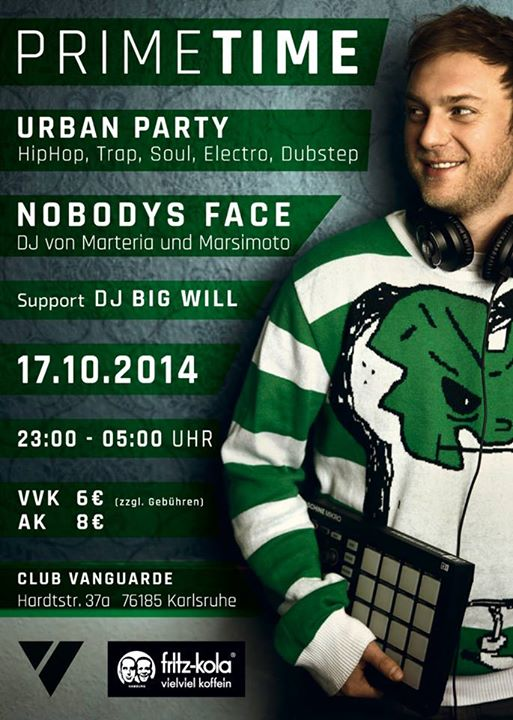 17.10.2014 | PRIME TIME PARTY mit NOBODYS FACE (DJ of Marteria and Marsimoto)